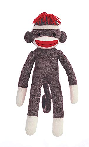 Natureya Original Plush Stuff Sock Monkey 20 Inches Tall, Soft Like Wool Knitted Realistic Animal Toy with Classic Embroidered Eyes for All Kids and Teens (Brown)