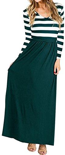 LunaJany Women's V Neck Long Sleeve Wide Striped Stretch Maxi Dress