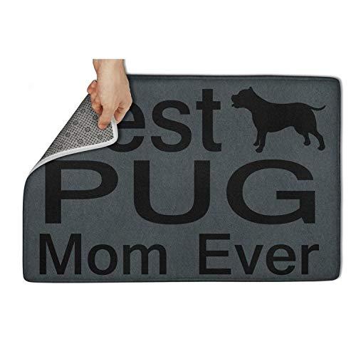 MEN45MEN Indoor and Outdoor Dog Lover Mug Best Pug Mom Ever Dog Puppy Soft Door Mat Easy Clean Funny Door Mats 23.5x15.5 Inch Floormat
