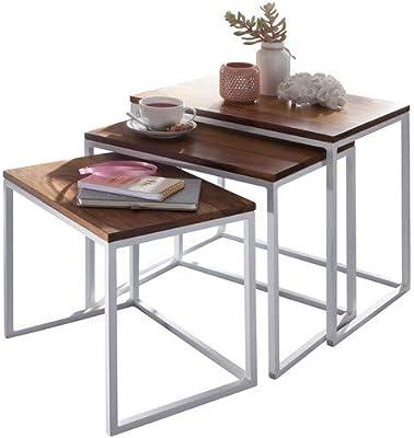 Wohnling Juego de mesa bihta maciza madera/metal diseño mesa 3 ...