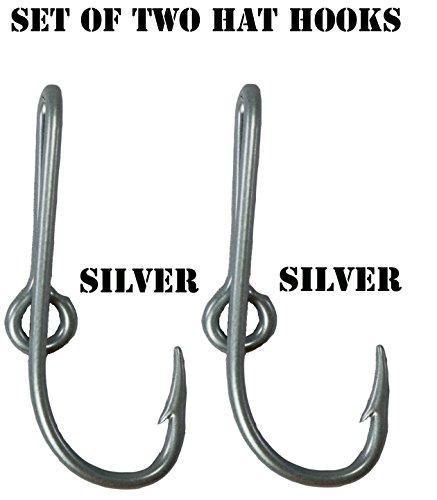 BT Outdoors Custom Colored Eagle Claw Silver Hat Fish Hooks for Cap (Set of Two Hat Hook pins) Two Silver Hat Hook Clip
