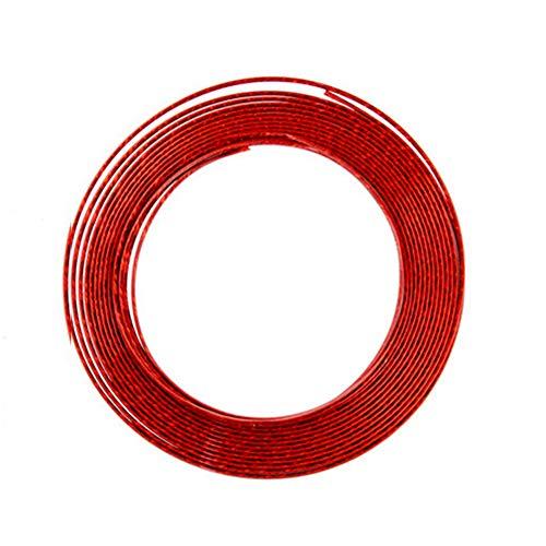 (LKXHarleya 39.37 Inch Car Chrome Moulding Trim Strip DIY Auto Interior Air Conditioner Outlet Vent Strip U Shape Door Edge Guard Trim Molding Decoration Car Styling, 6MM Width, Ice Red )