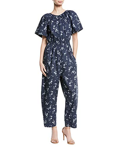 Rebecca Taylor Francine Cape-Back Floral-Print Stretch Cotton Jumpsuit