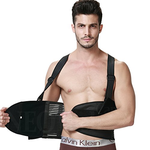 Back Brace for Men with Suspenders, Support for Lower Back Pain, Gym / Bodybuilding / Weight Lifting Belt, Training, Work Safety and Posture NEOtech Care (TM) Brand Black Color