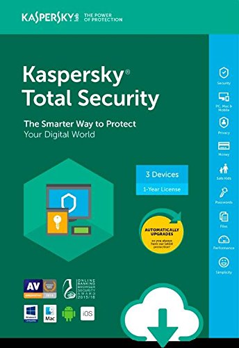 Software : Kaspersky Total Security ESD - 3 Device [PC/Mac Online Code]