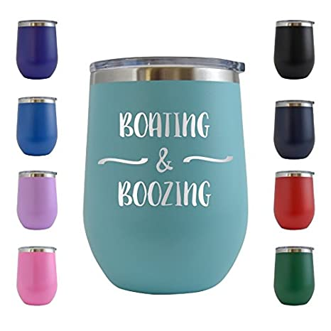 Amazon.com | Boating & Boozing Engraved 12 oz Stemless Wine Tumbler Cup Glass Etched - Funny Gifts for him, her, mom, dad, husband, wife (Teal - 12 oz): ...