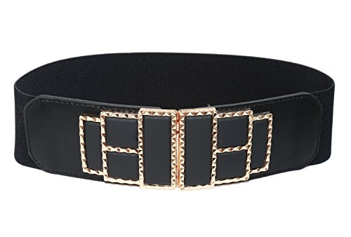 Stretch Patent Buckle Belt (Modeway Womens Wide Elastic Stretch Fashion Belts For)