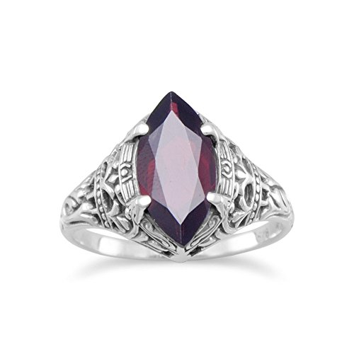 Sterling Silver Oxidized Vintage Style Ring Marquise Garnet The Garnet Measures 15mmx7mm - Size 7