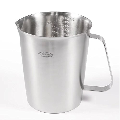 Measuring Cup, [Upgraded, 3 Measurement Scales, Including Cup Scale, ML Scale, Ounce Scale], Newness Stainless Steel Measuring Cup with Marking with Handle, 48 Ounces (1.5 Liter, 6 Cup) (Quart Measuring Pitcher)