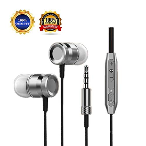 Earphones Headphones, Earbuds, in-Ear, Powerful Bass Driven Sound, Ergonomic Design with Remote Control and Microphone for Apple iPhone, iPod, iPad, Samsung Cell Phones and Smartphones (Best Earphones With Remote)
