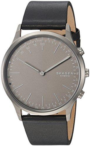 Skagen Connected Men's Jorn Stainless Steel and Leather Hybrid Smartwatch, Color: Grey, Black (Model: SKT1203) by Skagen