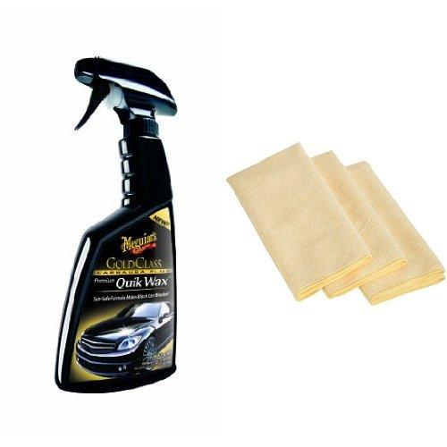 Meguiar's G7716 Gold Class Carnauba Plus Premium Quik Wax - 16 oz. with 3 AmazonBasics Thick Microfiber Cleaning Cloths