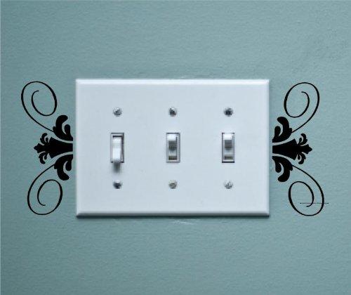 Enchantingly Elegant Light Switch Scroll Vinyl Decal Wall Sticker Living Room Bedroom Dining Room Decor Art