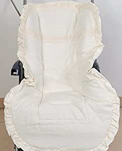 Colchoneta para silla de paseo universal puntilla beig. Funda silla de coche. Mundi Bebé.
