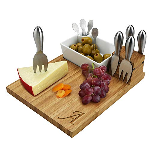 Picnic at Ascot Original Personalized Monogrammed Bamboo Cheese Board with Cheese Knives, Ceramic Bowl, Cocktail Sticks & Cheese Markers- Designed & Quality Checked in the ()