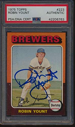 #223 Robin Yount RC HOF - 1975 Topps Baseball Cards Graded AUTO - Baseball Slabbed Autographed ()