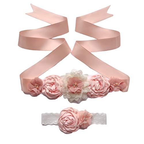 Maternity Flower Sash Belt Flower Girls Dress Belt Bridal Floral Pregnant Sash JB29 (Peach)