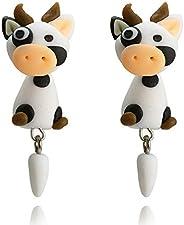 Cute Animal Polymer Clay Earring Handmade Cartoon Pink Pig Stud Earring