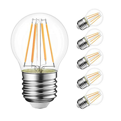 G14 LED Filament Globe Bulb 4W(40W Equivalent), LVWIT Dimmable 3000K Soft White E26 Screw Base, Decorative Edison Light Bulb, UL-listed(6-Pack)