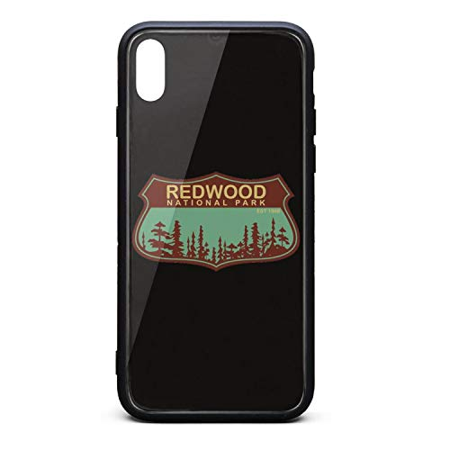 Redwood National Park Tempered Glass Phone Case for iPhone X Unisex Special Scratch-Resistant Back Cover Accessories