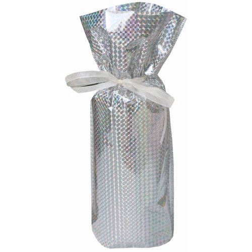 Gift Mate 21099-5 5-Piece Wine/Bottle Drawstring Gift Bags, Diamond Silver
