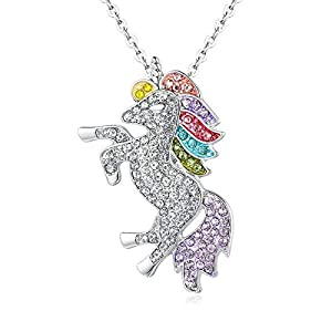 Guanjie Rainbow Unicorn Pendant Necklace is a Stylish Gift for Little Girls and Women