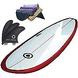 SCELL(セル) ファンボード 6'8 レールにピンライン有り サーフボード ホワイト ブルー ピンク レッド