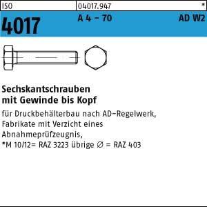 50 Sechskantschrauben ISO 4017 A4-70 M12x25 AD-W2 A4 Niro Edelstahl