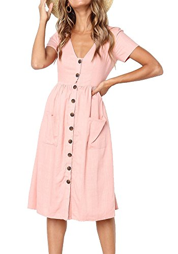LHAYY Women's Summer Short Sleeve V Neck Button Down Swing Midi Dress with Pockets (Pink, Large)