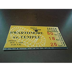 1943 SWARTHMORE AT TEMPLE COLLEGE FOOTBALL TICKET STUB EX