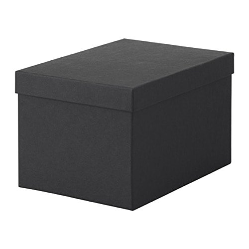 IKEA Tjena Storage Box With Lid Black Size 7x9 ¾x6 603.954.85 (Tjena Storage Box)