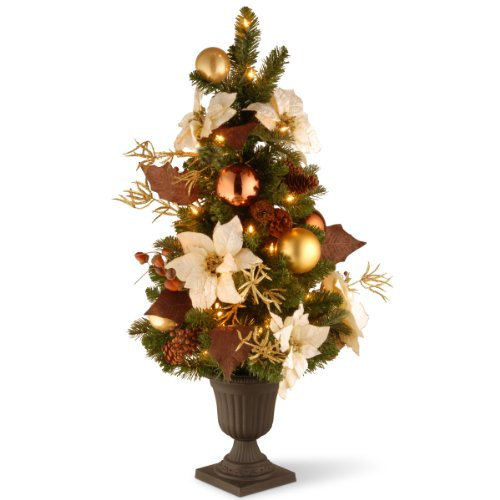 Entrance Tree (National Tree 3 Foot Decorative Collection Inspired by Nature Entrance Tree with Ornaments, Berries, White Poinsettias and 50 Clear Lights in Decorative Urn (DC13-112L-30P))