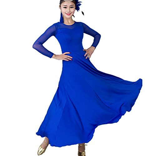 YC WELL Women Modern Waltz Tango Smooth Ballroom Dance Dress Standard Ballroom Dress(blue,L) - Ballroom Costume Fabric
