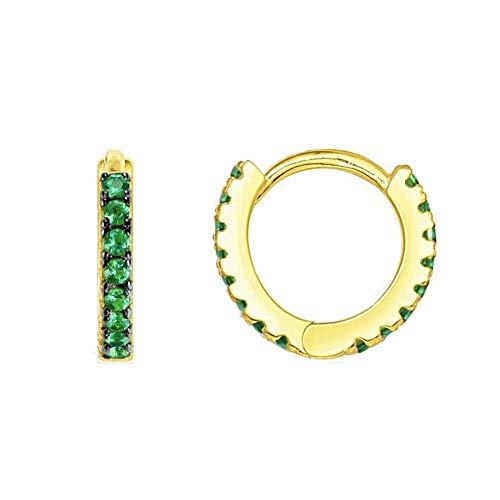 Hoop Earrings 24K Gold Plated 925 Sterling Silver Huggie Earrings For Women And Girl (green zircon) - Earrings Zircon