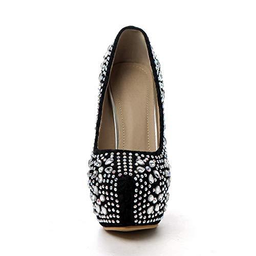Urethane Black Platform Travel Womens BalaMasa Pumps Shoes Studded APL10813 qIw8g6