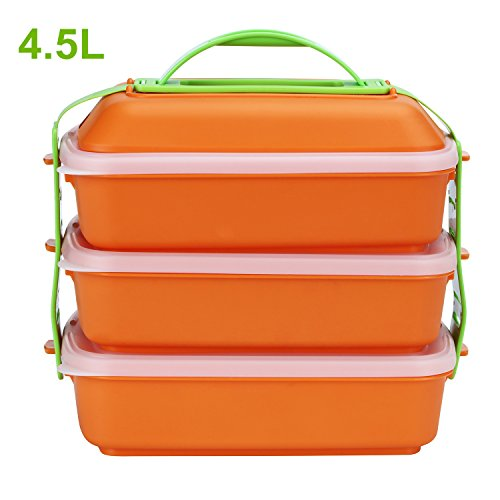 Lunch Box, Saruliya 4.5L Microwave Plastic Meal Prep Food Storage Containers 3 Tier Stackable with Handle