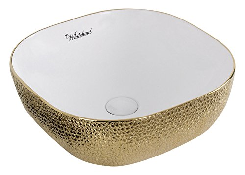 (Whitehaus Collection WH71301-F25 Isabella Plus Collection Square Above Mount Basin with an Embossed Exterior, Smooth Interior, and Center Drain,)