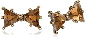 "Betsey Johnson ""Iconic Summer Metallics"" Crystal Bow Stud Earrings"