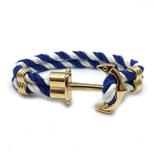Gold Classic Anchor White and Blue Sailor Nylon Strap bracelet for Men (Sailor Outfits For Men)