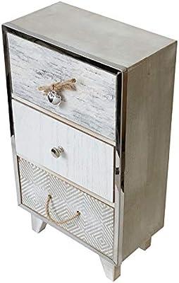 Mini cajonera 20x12xH35cm con 3 cajones madera shabby look blanco/gris caja de almacenamiento de joyas: Amazon.es: Hogar