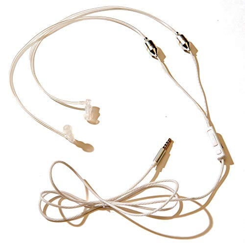 (SYB Air Tube Stereo Headset, Anti-Radiation EMF Protection, White, Over-The-Ear)