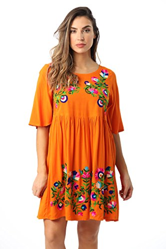Riviera Sun 21824-ORG-3X Rayon Crepe Short Dress with Multicolored Embroidery Orange