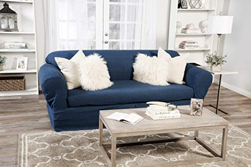 2 Pack Slipcover - Classic Slipcovers 2 Piece Washed Denim loveseat slipcover, Blue