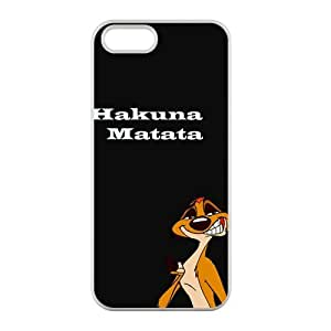Custom The Lion King Wocenter Hakuna Matata Nice Durable Case Cover Protector Compatible with iPhone 5 5S 100% TPU (Laser Technology)