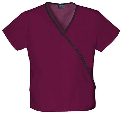 Wrap Mock Mini Cotton - Cherokee Workwear Women's Contrast Mini Mock Wrap Shirt_Wine_Medium,4800