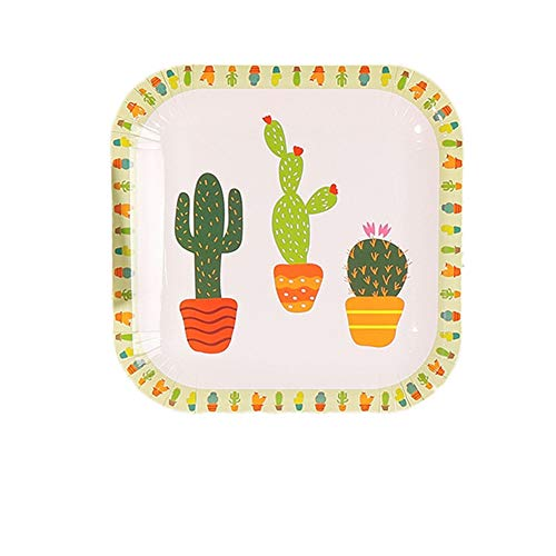 Fiesta Disposable Cactus Party Supplies, 20 Count Square 9 inch Disposable Plates Cactus Party Paper Plates for Baby Shower Cactus Theme Child Birthday Mexican Party Decoration Supplies ()