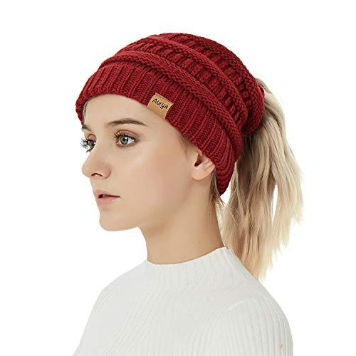 Aurya Cable Knit Ponytail Messy Bun Beanie Womens Trendy Warm Stretchy Winter Beanie Hat Cap