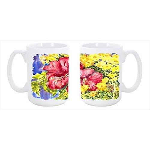 CoolCookware Flower Hibiscus Dishwasher Safe Microwavable Ceramic Coffee Mug from Cocobeen
