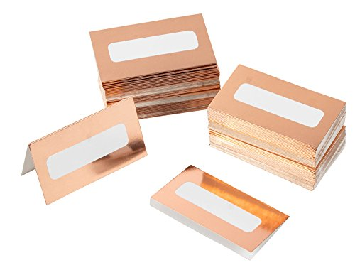 Rose Gold Table Place Cards - 100 Piece Gold Foil Tent Cards, Table Decorations and Party Supplies for Romantic Wedding, Banquets, Bridal Shower, Celebrations and Events, 2 x 3.5 Inches, White ()