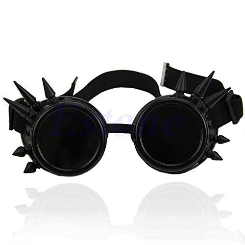 Negro Steampunk Gótico 5 5cm Lamdoo Punk lens Gafas negro Vintage remache diameter de soldar Cosplay Victorian wXExATqZ